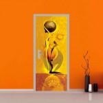 adesivo per porte : fiore astratto
