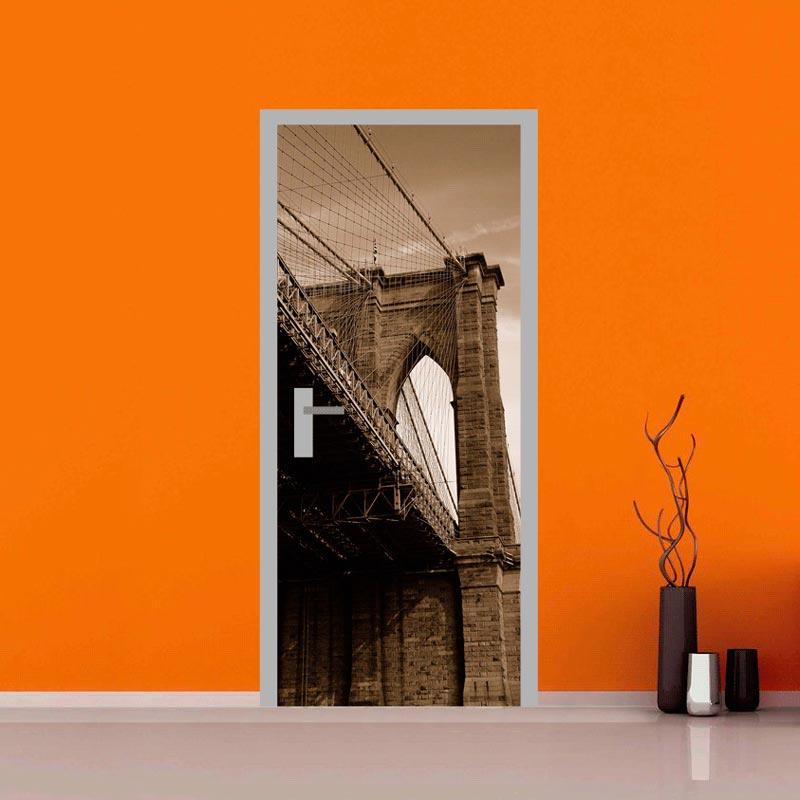 Rivestimento adesivo per porta dettaglio ponte di brooklyn for Tavole adesive 3d