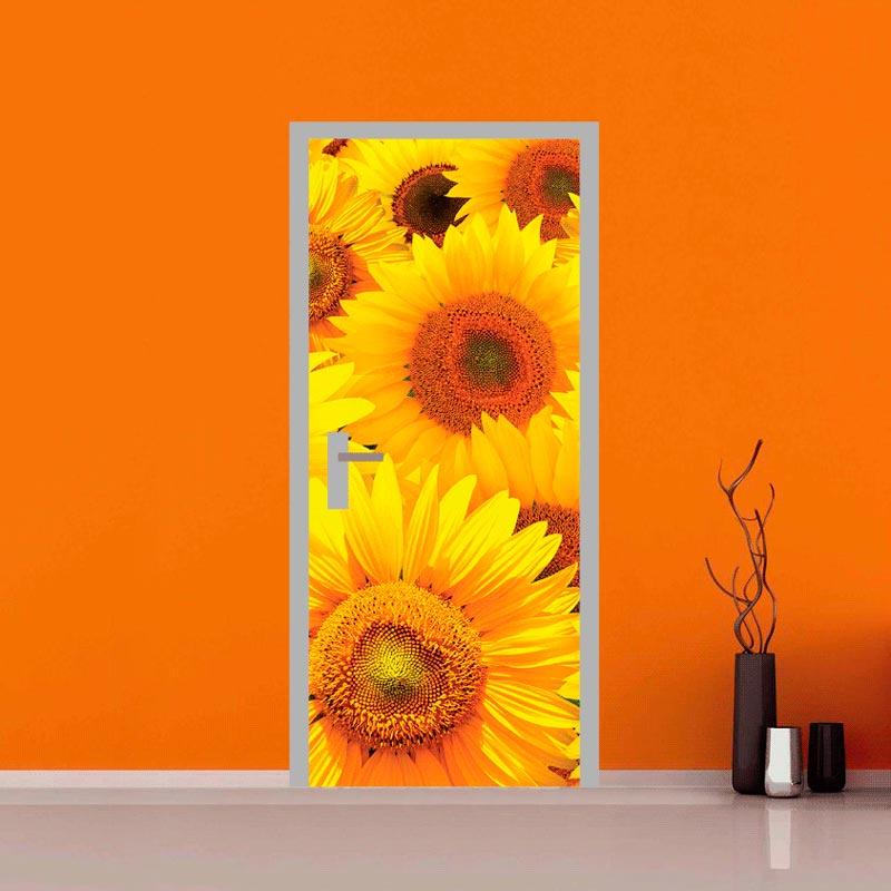 Decora la tua porta adesivi con fiori di girasole for Quadri fiori stilizzati