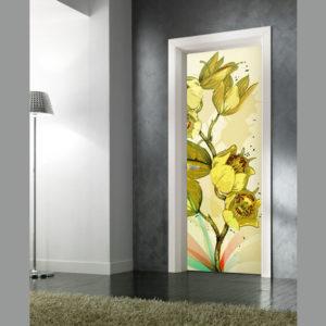 adesivo porta fiori gialli composizione floreale