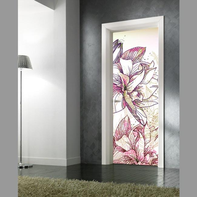 Adesivo per porte fiori stilizzati in vendita online for Porte arredo