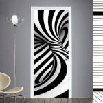 adesivo per porte : vortice bianco e nero