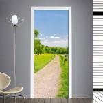 adesivo per porta: sentiero verde di campagna