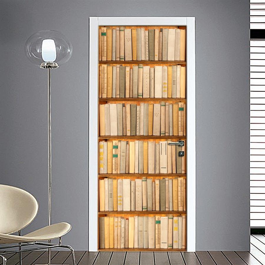 Adesivo per porta finta libreria applica senza problemi for Carta da parati per porte