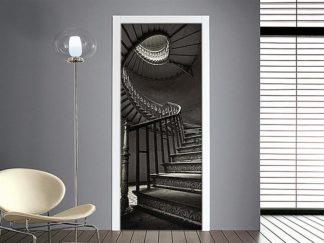 adesivo per porta: scalinata a chiocciola