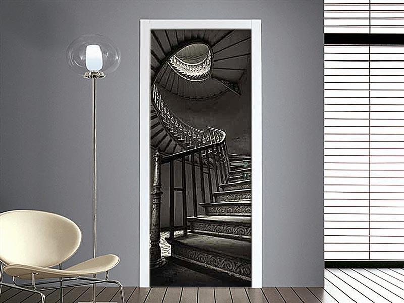 Personalizza le tue porte adesivo scalinata a chiocciola - Carta da parati per porte leroy merlin ...