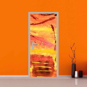 Adesivi per porte: Astratto Schizzi di Colore e Pennellate