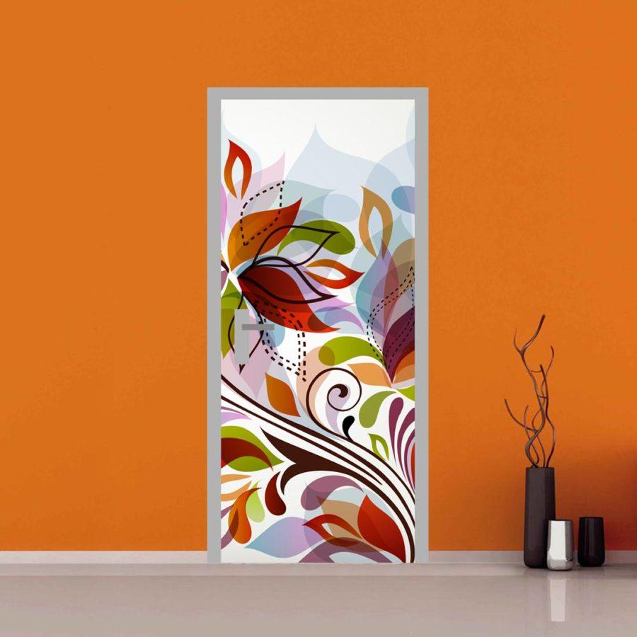Adesivo per porta fantasia floreale e fiori for Quadri fiori stilizzati