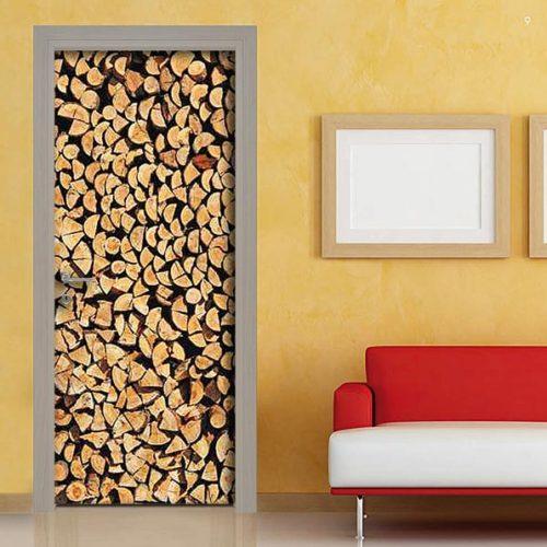 pellicola adesiva rivestimento porta tronchi legna sticker casa