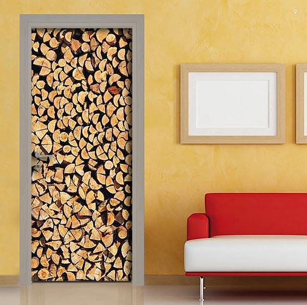Pellicola adesiva rivestimento porta catasta tronchi di legna - Adesivi per decorare mobili ...