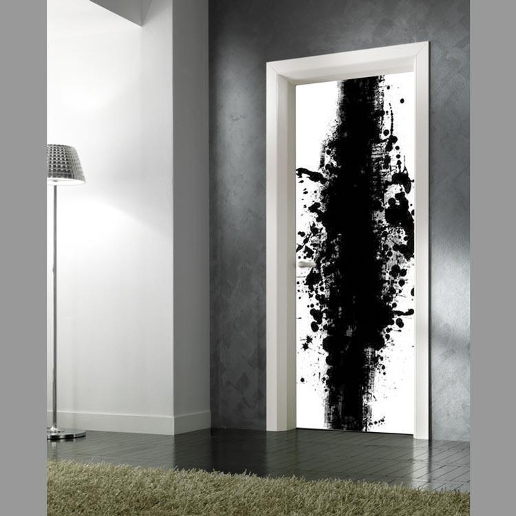 Adesivo per porte macchia di inchiostro bianco e nero - Pellicole adesive per porte ...