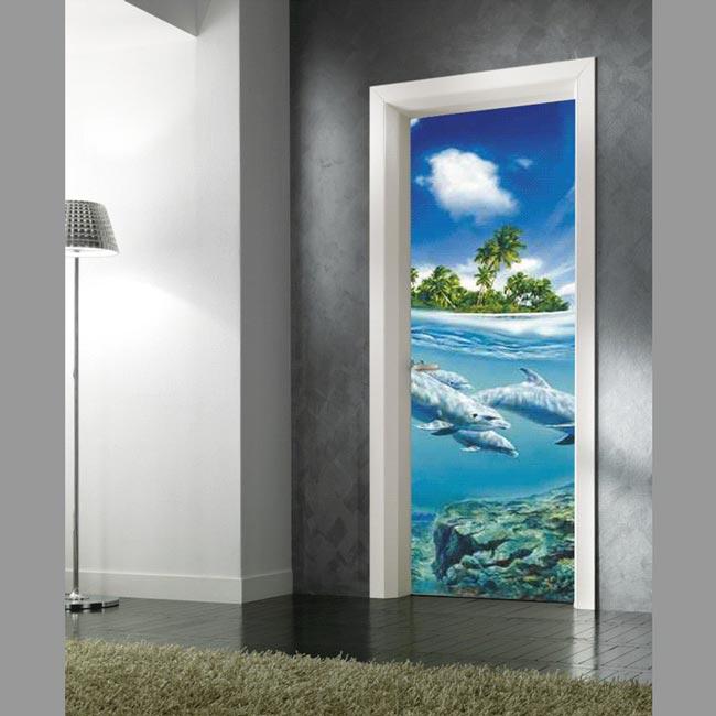 Adesivo per decorare le porte mare tropicale con delfini - Decorare le porte ...