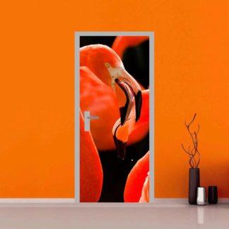 adesivo per porte : fenicotteri