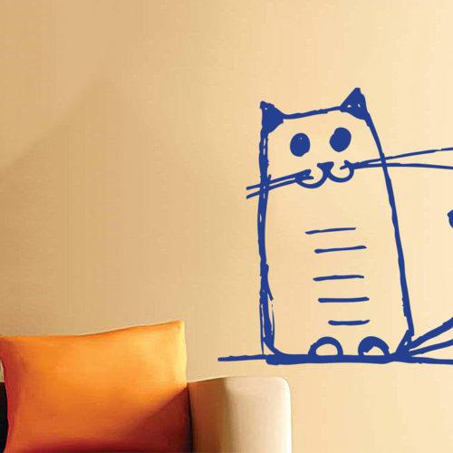 adesivi-murali-gatti-felice