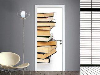 adesivo per porte : pila di libri