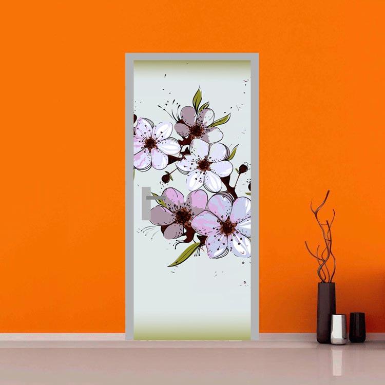 Adesivo per porte ciliegio stilizzato giapponese for Quadri fiori stilizzati