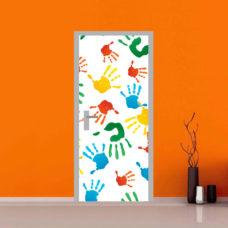 adesivo per porte : mani colorate