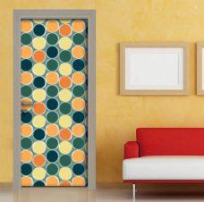 Adesivo porta : vintage cerchi colorati