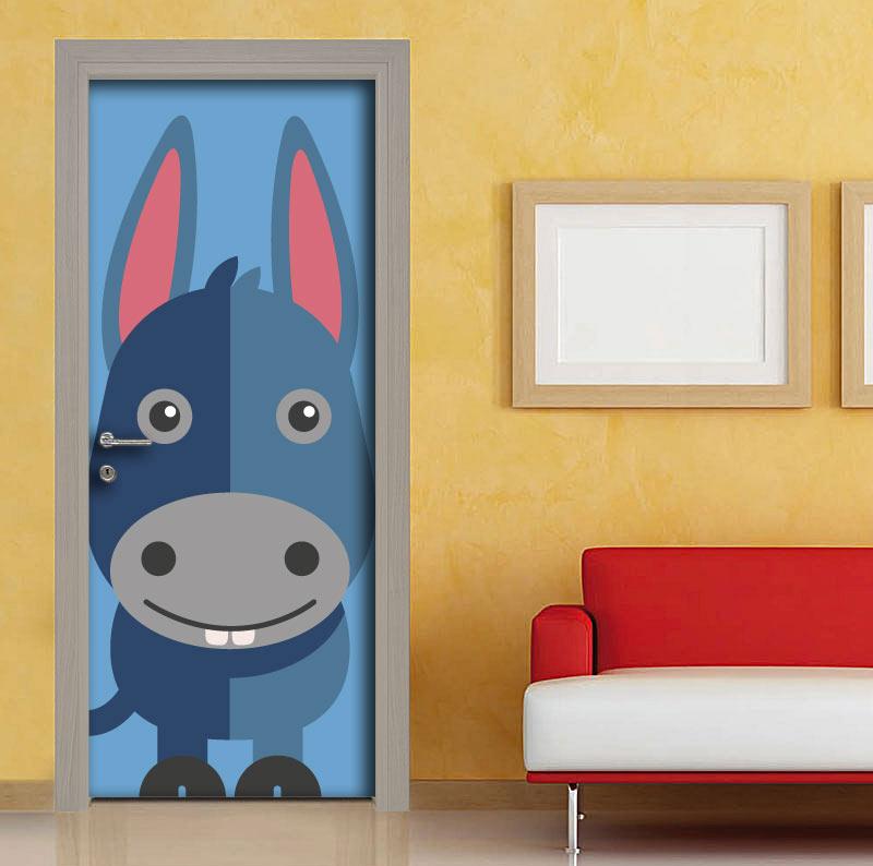Adesivo porte per bambini asinello stilizzato vendita - Adesivi per mobili bambini ...
