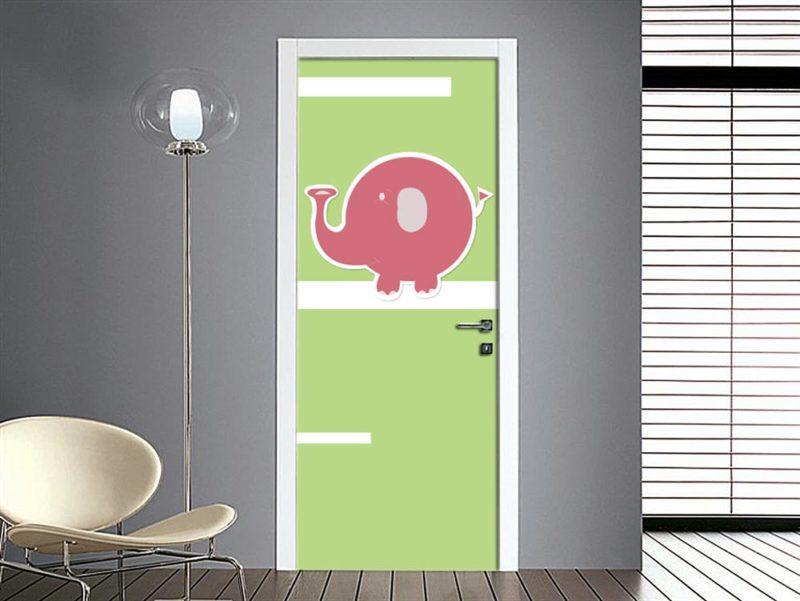 adesivo porta elefante bambini sticker