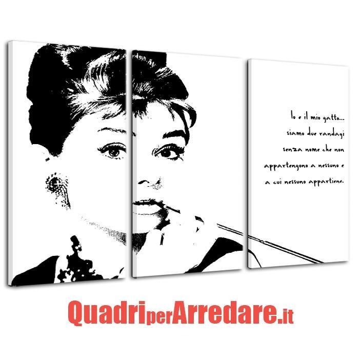 quadro trittico contemporaneo Audrey Hepburn