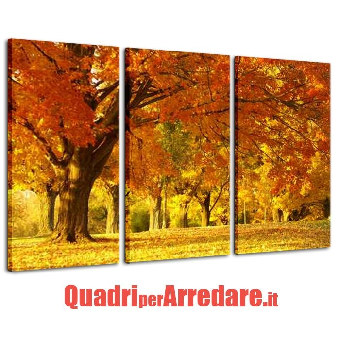 quadro trittico contemporaneo bosco autunno