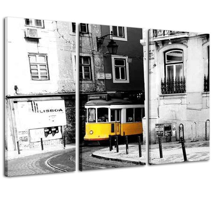 quadro tram giallo lisbona