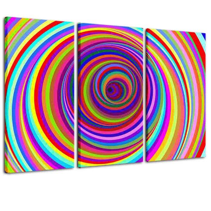 quadro trittico arredo : vortice colori