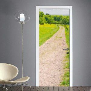Fotomurale adesivo per porta: sentiero di campagna