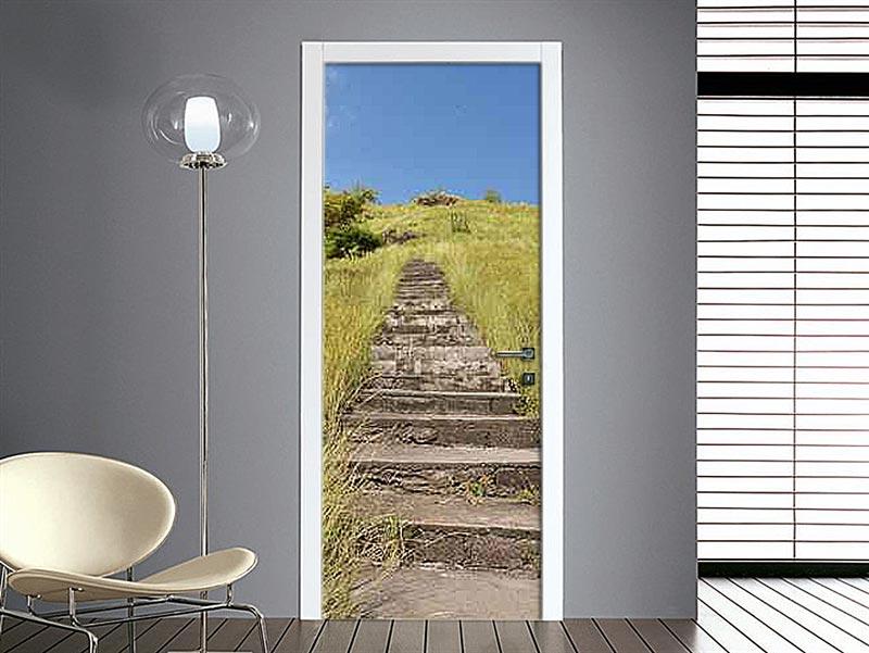 adesivo rivestimento porta con sentiero in pietra
