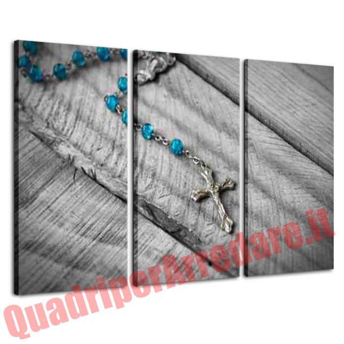 quadro grandi dimensioni 3 pezzi religioso rosario pietre azzurre