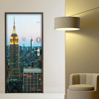 adesivo porta empire state building illuminato decorazione sticker