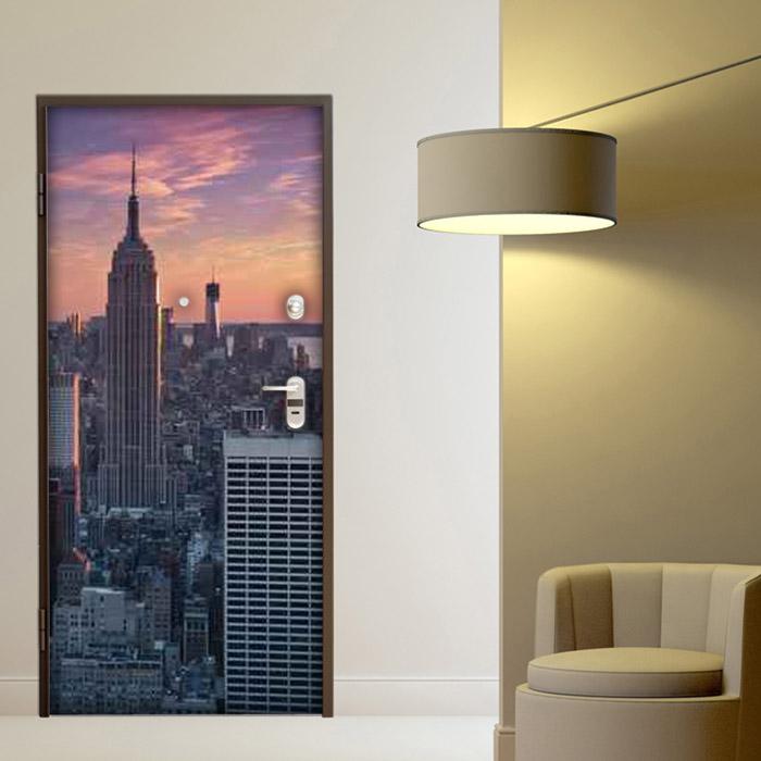 adesivo porta new york empire state building tramonto sticker