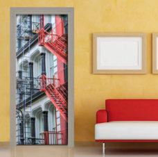 adesivo porta new york sticker decorazione scala antincendio rossa