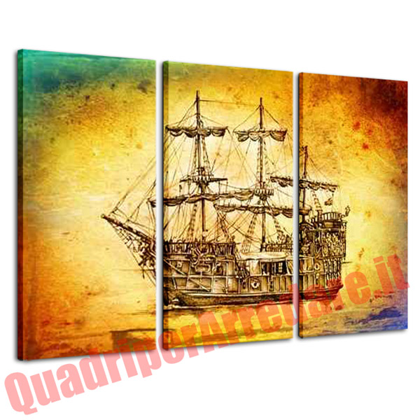quadro grande 3 pezzi galeone spagnolo arredo casa