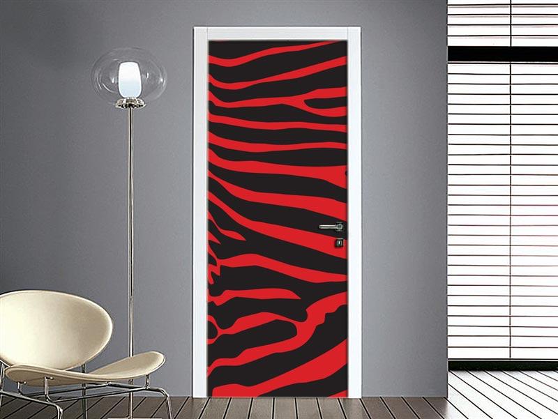 adesivo porta zebrato rosso nero