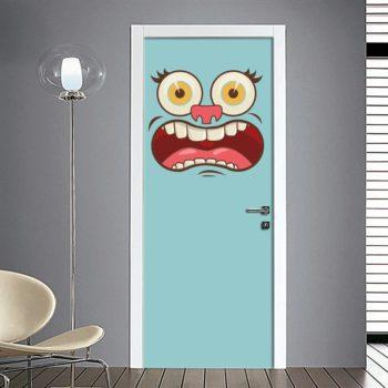 Adesivo per porta faccia spaventata