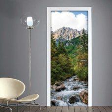 Adesivo per porta con paesaggio montano