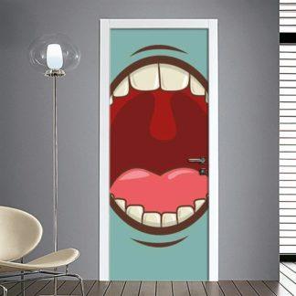 Adesivo per porta emoticon bocca aperta