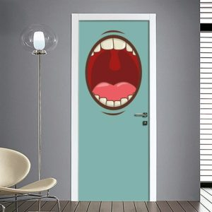 Adesivo per porta bocca aperta
