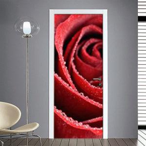Adesivo Porta: Rosa bagnata