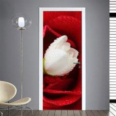 Adesivo Porta: Rosa con fiore bianco