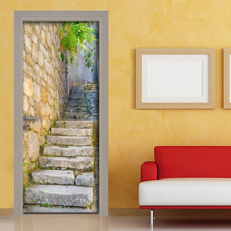 Adesivo porta scalinata in pietra