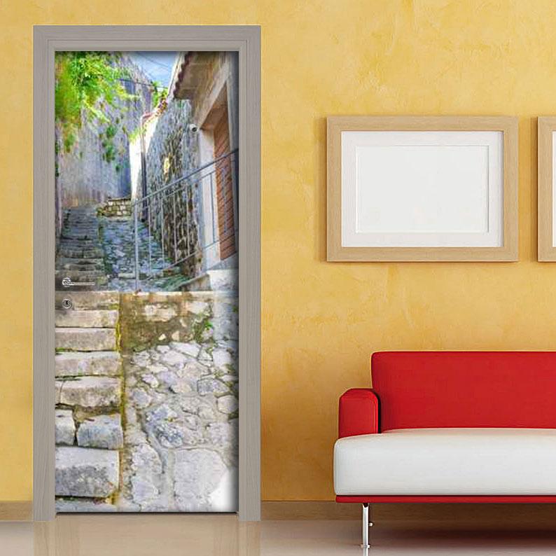 Adesivi porta con scalinata in pietra vendita online for Adesivi per legno