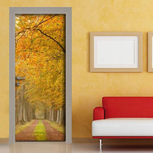 Adesivo porta sentiero alberato in autunno