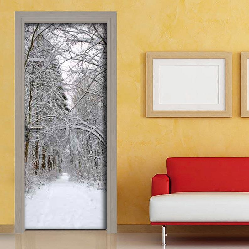 Personalizzare la porte con fotografia di paesaggio innevato - Rivestimenti adesivi per mobili ...
