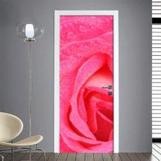 Adesivo Porta: Rosa che sboccia
