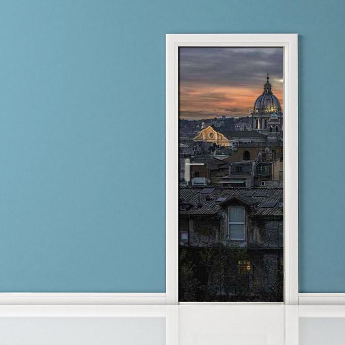 Roma panorama di notte San Pietro