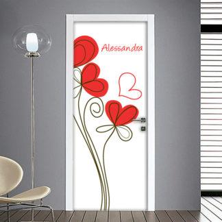 Adesivo per porta con fiori e nomi bambino
