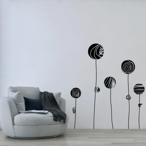 Adesivi murali e stickers fiori stilizzati